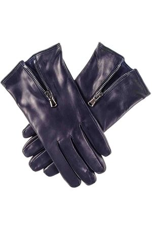 Black Navy Leather Gloves with Zip Detail - Cashmere Lined