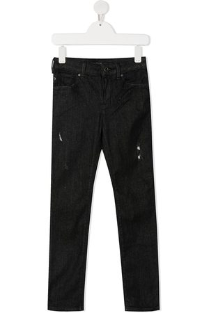 Emporio Armani Ripped mid-rise slim jeans