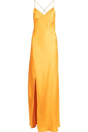 Michelle Mason Women Evening Dresses - Silk front-slit maxi gown