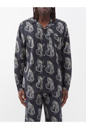 Desmond & Dempsey Sansido Tiger-print Cotton Pyjama Shirt - Mens - Multi