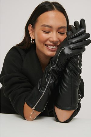 NA-KD Zip Detail Long Gloves - Black