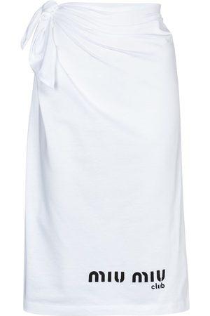 Miu Miu Logo cotton jersey midi skirt