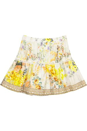 Camilla Embellished floral cotton skirt