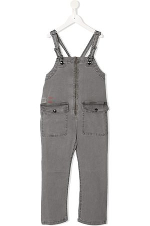 Bobo Choses Girls Straight - Flap-pocket straight leg denim dungarees