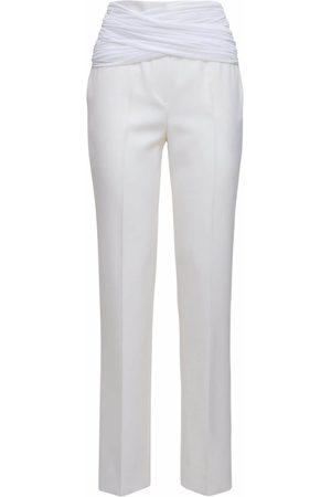 Burberry Wool Blend Satin Twill Pants W/ Sash