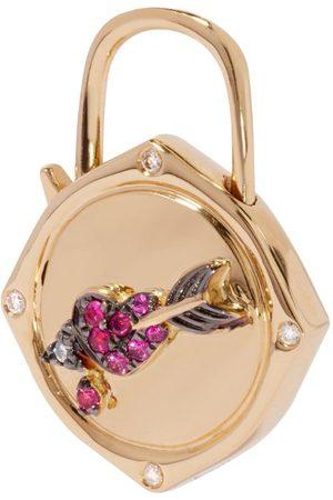 ANNOUSHKA Yellow , Diamond and Sapphire Lovelock Heart and Arrow Charm