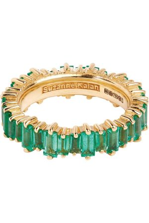 Suzanne Kalan Yellow Gold and Emerald Fireworks Eternity Ring Size 5.5