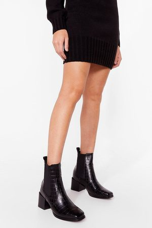 NASTY GAL Women Ankle Boots - Womens Croc-star Treatment Heeled Ankle Boots - - 3