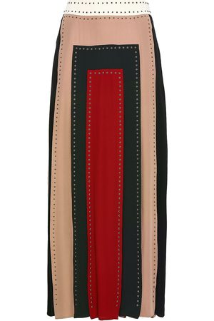 VALENTINO Woman Studded Color-block Silk Crepe De Chine Maxi Skirt Multicolor Size 38