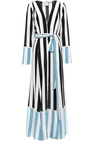 WE ARE LEONE Woman Striped Silk Crepe De Chine Robe Size S/M