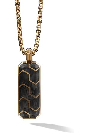 David Yurman 18kt yellow gold Forged Carbon ingot amulet - 88BFG