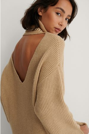 NA-KD Back Detail Knitted Sweater - Beige