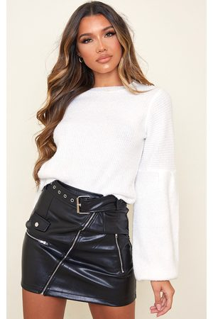 PRETTYLITTLETHING Faux Leather Biker Belted Mini Skirt
