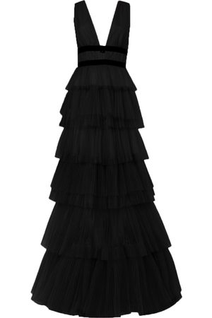 True Decadence Women Maxi Dresses - Plunge Front Tulle Layered Maxi Dress
