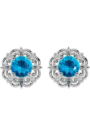 SuperJeweler 2 1/10 Carat Blue Topaz & Diamond Antique Stud Earrings in 14K (2.75 g), I/J