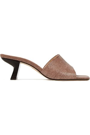 By Far Woman Lily Stingray-effect Leather Mules Taupe Size 35