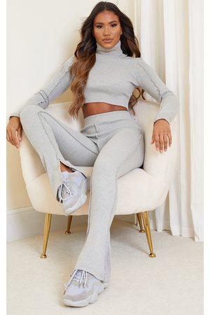 PRETTYLITTLETHING Women Wide Leg Trousers - Structured Rib Stitch Detail Split Hem Flared Trousers