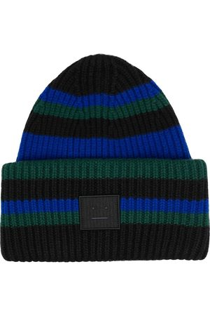 Acne Studios Face-patch striped beanie