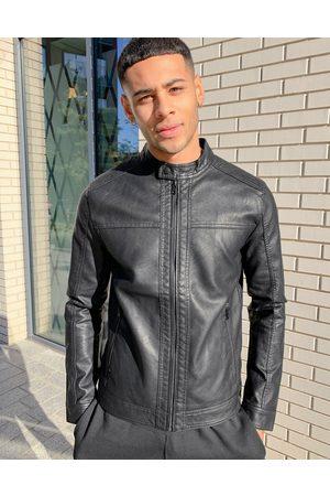 Jack & Jones Leather Jackets - Essentials faux leather biker jacket in