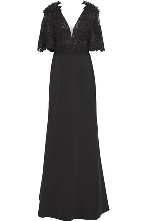 Badgley Mischka Woman Embellished Lace And Stretch-cady Gown Size 10
