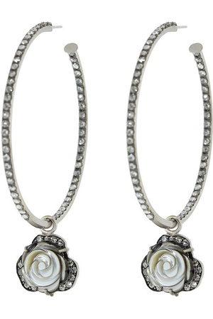 Sylva & Cie 18kt white gold diamond flower hoop earrings