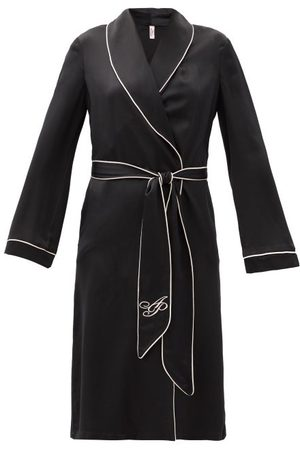 Agent Provocateur Classic Piped-trim Silk-satin Robe - Womens