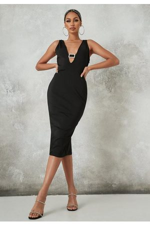 Missguided Diamante Buckle Bandage Midi Dress