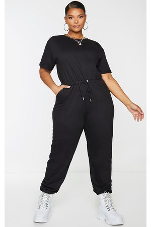PRETTYLITTLETHING Plus Short Sleeve Sweat Jumpsuit