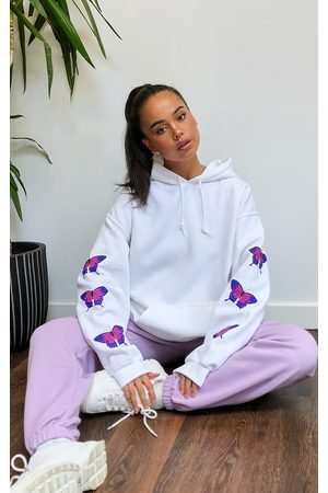 PRETTYLITTLETHING Butterfly Arm Print Hoodie