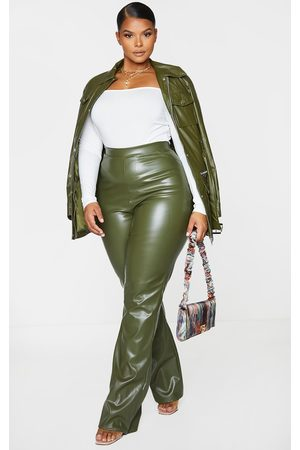 PRETTYLITTLETHING Plus Khaki PU Flared Trousers
