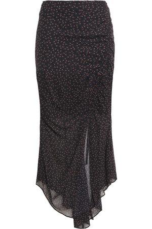 Nicholas Woman Asymmetric Ruched Floral-print Silk-chiffon Midi Skirt Size 0