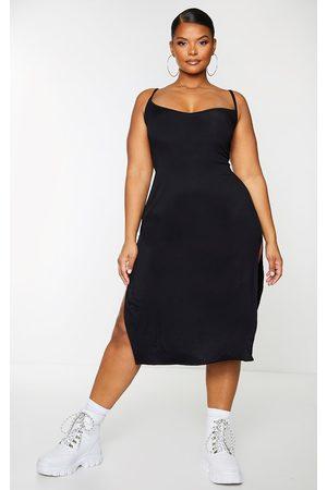 PRETTYLITTLETHING Women Casual Dresses - Plus Jersey Split Midi Dress