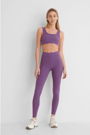 NA-KD Ribbed Highwaist Tights - Purple