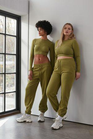 NA-KD Flow Zippered Hem Sweatpants - Green