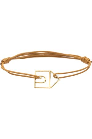 Aliita Casita Brilliante 9kt gold charm cord bracelet with white diamond