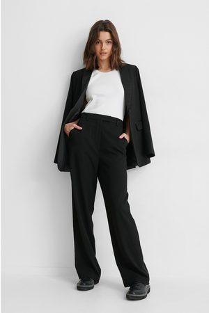 NA-KD Satin Detail Suit Pants - Black