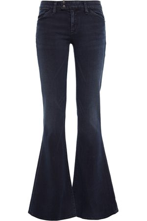 Goldsign Woman Faded Low-rise Flared Jeans Dark Denim Size 25