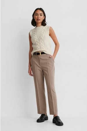 NA-KD High Rise Cropped Suit Pants - Brown