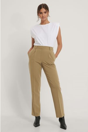 NA-KD Mid Rise Suit Pants - Green