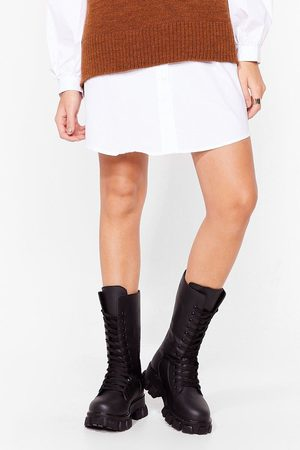 NASTY GAL Womens Stood Up to 'Em Chunky Biker Boots - - 3