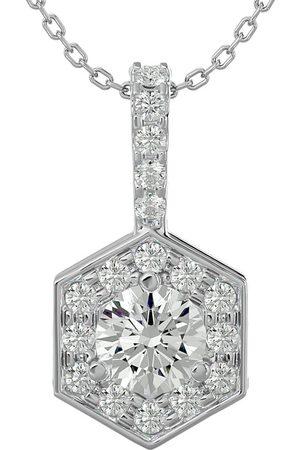 SuperJeweler 1/2 Carat Halo Diamond Necklace in 14K (3 g), 18 Inches (J-K, I1-I2)