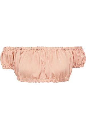 I.D. Sarrieri Woman Off-the-shoulder Silk-satin Bikini Top Antique Rose Size 0