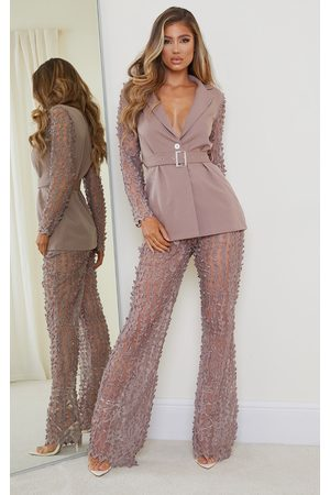 PRETTYLITTLETHING Mushroom Woven Sheer Lace Flared Trousers