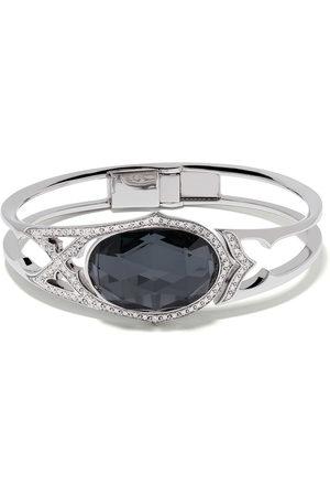 Stephen Webster 18kt white gold Crystal Haze Love diamond, quartz and hematite bangle