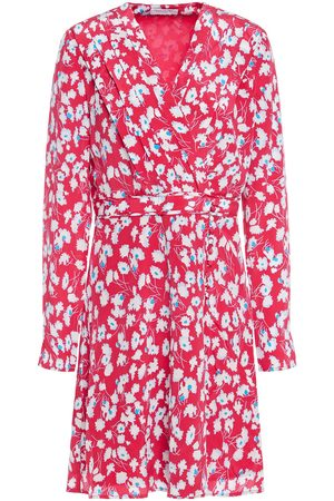 Equipment Women Printed Dresses - Woman Wrap-effect Floral-print Silk Crepe De Chine Mini Dress Fuchsia Size L