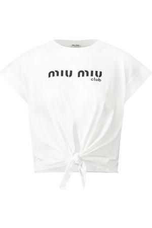 Miu Miu Logo cotton jersey crop top