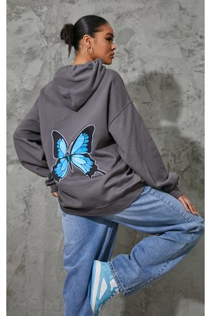 PRETTYLITTLETHING Women Hoodies - Charcoal Butterfly Back Printed Hoodie