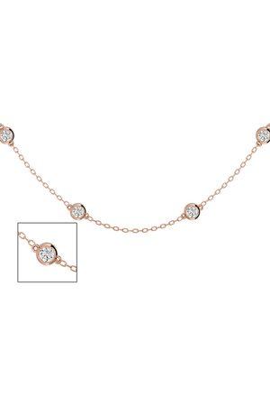 SuperJeweler 14K Rose (6.30 g) 2 Carat Diamonds By The Yard Necklace, 16-18 Inches (I-J, I2)