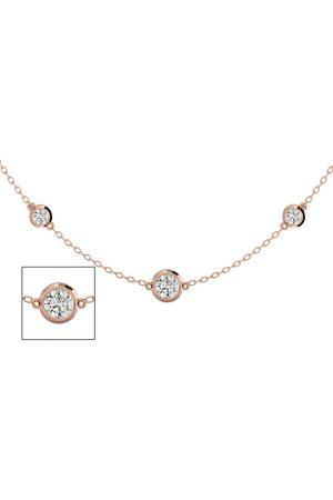 SuperJeweler 14K Rose (7.80 g) 2 3/4 Carat Graduated Diamonds By The Yard Necklace, 16-18 Inches (I-J, I2 Clarity Enhanced)