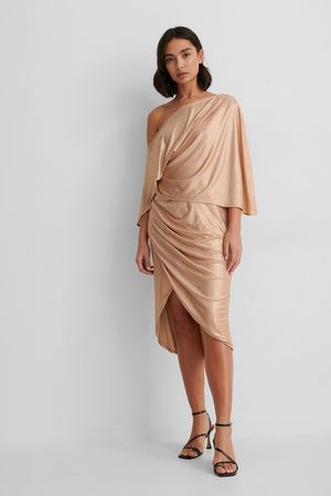 NA-KD Drape Asymmetric Dress - Beige